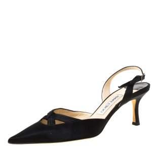 Jimmy Choo Black Satin Pointed Toe Slingback Sandals Size 38.5