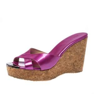 Jimmy Choo Purple Patent Leather Prima Cork Wedge Slides Size 38.5