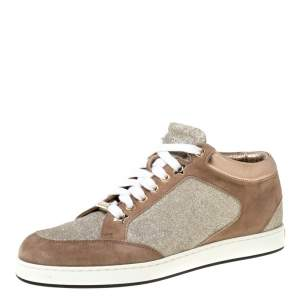 Jimmy Choo Beige Glitter And Suede Miami Lace Up Sneakers Size 35