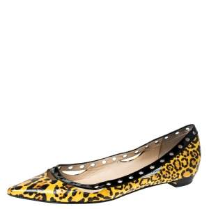 Jimmy Choo Yellow Leopard Print Leather Pointed Toe Flats Size 37.5