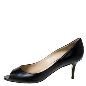 حذاء كعب عالي جيمي تشو ايزابيل مقدمة مفتوحة جلد أسود مقاس 39