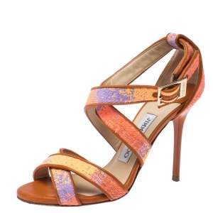 Jimmy Choo Multicolour Raffia And Leather Trim Strappy Sandals Size 35