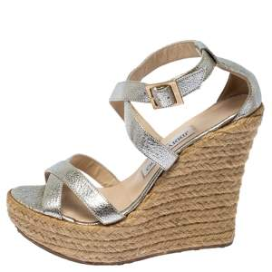 Jimmy Choo Silver Texture Patent Leather Porto Espadrille Wedge Sandals Size 37
