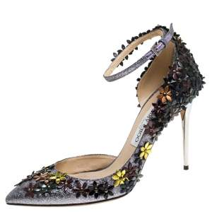 Jimmy Choo Multicolor Glitter Fabric And Leather Floral Embellished Lorelai Ankle Strap Pumps Size 39