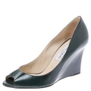 حذاء كعب عالي روكي جيمي تشو باكيسين بمقدمة مفتوحة جلد أخضر داكن مقاس 38.5