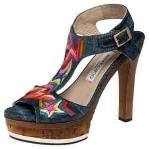 Jimmy Choo Multicolor Denim Ankle Strap Platform Sandals Size 38