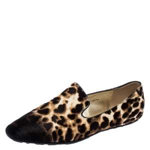Jimmy Choo Brown Ombre Leopard Print Calfhair Wheel Smoking Slippers Size 36