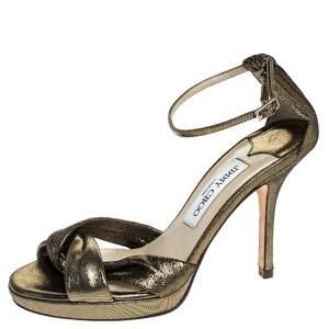 Jimmy Choo Bronze Lame Fabric Macy Open Toe Sandals Size 36.5