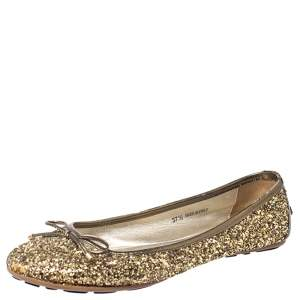 Jimmy Choo Gold Coarse Glitter Fabric Walsh Bow Ballet Flats Size 37.5