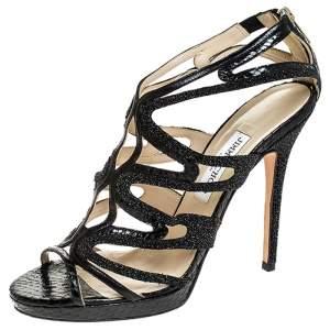 Jimmy Choo Black Python And Stardust Glitter Suede Cutout Open Toe Platform Sandals Size 41