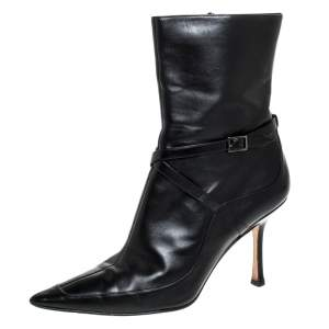 Jimmy Choo Black Leather Arena Pointed Toe Ankle Boots Size 40