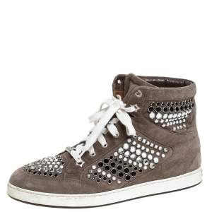Jimmy Choo Grey Suede Crystal Studded Tokyo High-Top Sneakers Size 38