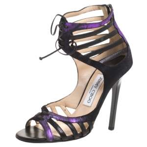 Jimmy Choo Black/Purple Leather And Pony Ankle Strap Sandals Size 36