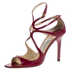 Jimmy Choo Red Patent Leather Lang 100 Ankle Strap Sandals Size 40