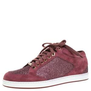 Jimmy Choo Pink Glitter And Suede Miami Lace Up Sneakers Size 38