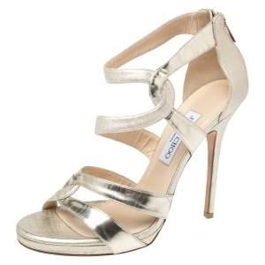 Jimmy Choo Gold Metallic Textured Leather Open Toe Platform Sandals Size 41