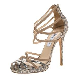 Jimmy Choo Metallic Beige and Leopard Printed Suede Florida Sandals Size 38