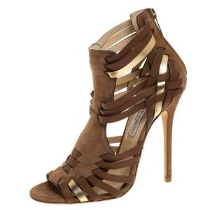 Jimmy Choo Brown Suede Leather Strappy Open Toe Sandals Size 37.5