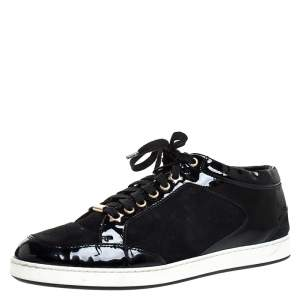 Jimmy Choo Black Suede and Patent Leather Miami Low Top Sneakers Size 39.5
