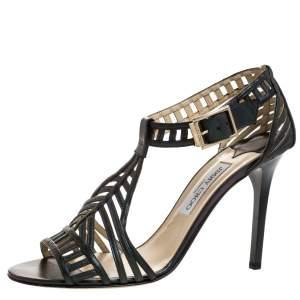 Jimmy Choo Metallic Dark Green Leather Cutout Open Toe Sandals Size 41