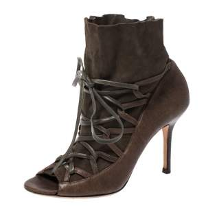 Jimmy Choo Khaki Green Leather and Suede Lace Up Booties Size 37.5