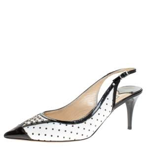 Jimmy Choo Monochrome Leather Embellished Slingback Sandals Size 36.5