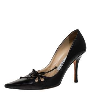 Jimmy Choo Black Leather Cut Out Pointed Toe Pumps Size 37.5