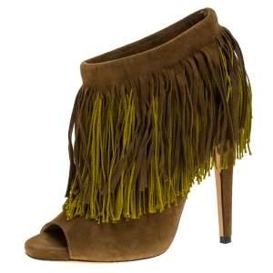 Jimmy Choo Olive Green Suede Fringe Detail Damita Boots Size 38