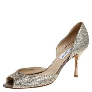Jimmy Choo Glitter Champagne Logan D'orsay Peep Toe Pumps Size 39.5