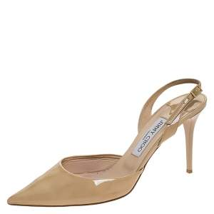 Jimmy Choo Beige Patent Leather Tilly Pointed Toe Slingback Sandals Size 39.5