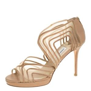 Jimmy Choo Beige Leather and Mesh Caged Open Toe Sandals Size 37.5