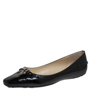 Jimmy Choo Black Croc Effect Patent Leather Ballerina Bow Flats Size 38