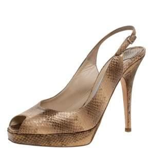 Jimmy Choo Gold Snakeskin Peep Toe Nova Slingback Sandals Size 37.5