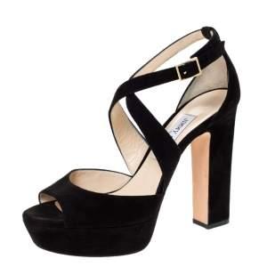 Jimmy Choo Black Suede Leather Strappy Platform Sandals Size 39