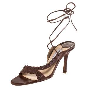 Jimmy Choo Brown Leather Corset Ankle Wrap Sandals Size 39