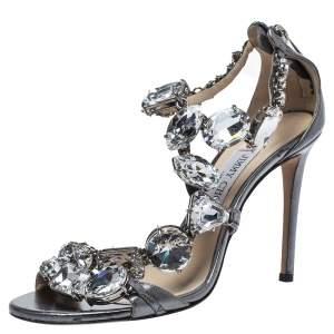 Jimmy Choo Metallic Leather Crystal Embellished Karima Sandals Size 38