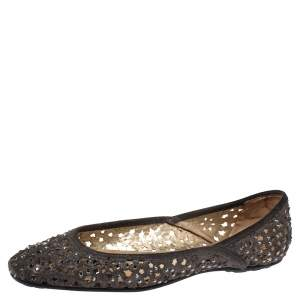 Jimmy Choo Metallic Silver Embellished Cut Out Suede Ballet Flats Size 39.5