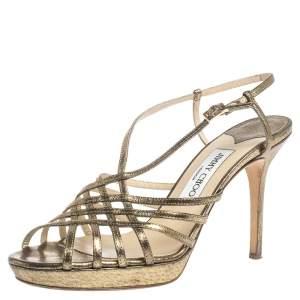 Jimmy Choo Metallic Bronze Lamé Fabric Platform Cage Sandals Size 38.5