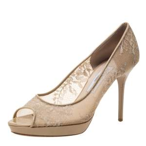 Jimmy Choo Beige Lace/Mesh and Patent Leather Luna Peep Toe Platfrom Pumps Size 38