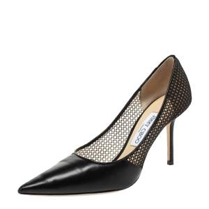 Jimmy Choo Black Mesh and Leather Love Pointed Toe Pumps Size 38.5