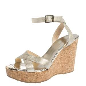 Jimmy Choo Gold Lame Fabric Papyrus Cork Wedge Ankle Strap Sandals Size 39
