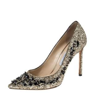 Jimmy Choo Gold Glitter Romy 100 Embellished Pointed Toe Pumps Size 39