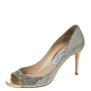 Jimmy Choo Metallic Gold Glitters Evelyn Open Toe Pumps Size 38.5
