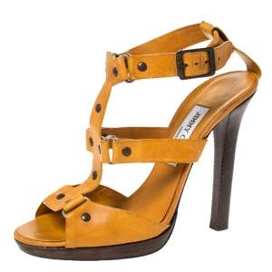 Jimmy Choo Mustard Yellow Studded Leather Cage Sandals Size 39