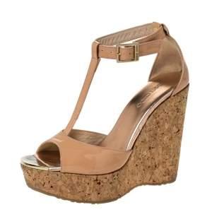 Jimmy Choo Beige Patent Leather Pela Cork Wedge T-Strap Sandals Size 36.5