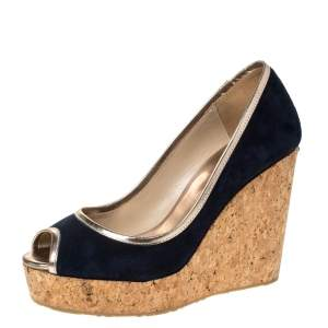 Jimmy Choo Blue Suede And Gold Trim Peep Toe 'Papina' Cork Platform Wedges Size 37