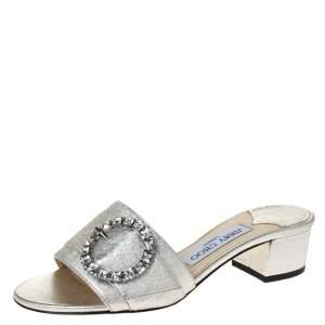 Jimmy Choo Silver Leather Granger Buckle Embellished Slide Sandals Size 36