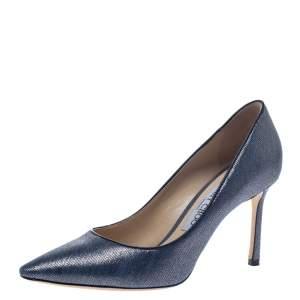 Jimmy Choo Blue Denim Fabric Romy Pointed Toe Pumps Size 37.5