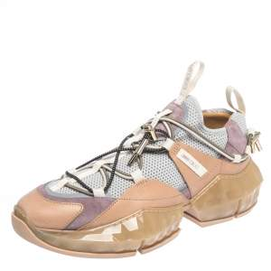 Jimmy Choo Multicolor Leather And Mesh Diamond Trail Sneakers Size 40