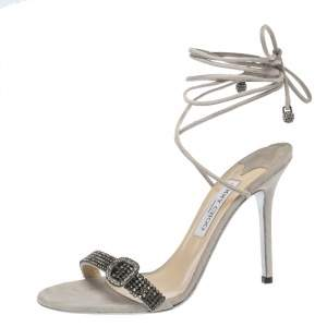 Jimmy Choo Grey Suede Crystal And Buckle Embellished Ankle Wrap Sandals Size 40.5